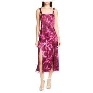 Cinq A Sept Alexa Tie Dye Satin Midi Dress Pink